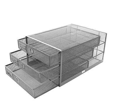 Exerz Wire Mesh 3 Drawer Paper Sorterdesk Multifunctional Organizer Silver