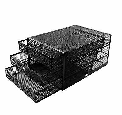 Exerz Wire Mesh 3 Drawer Paper Sorterdesk Multifunctional Organizer Black