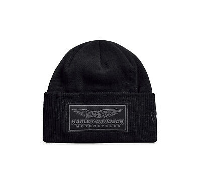 Harley-Davidson Men's Woven Badge Cuffed Knit Beanie Hat, Black 97815-19VM Black Cuffed Knit Beanie