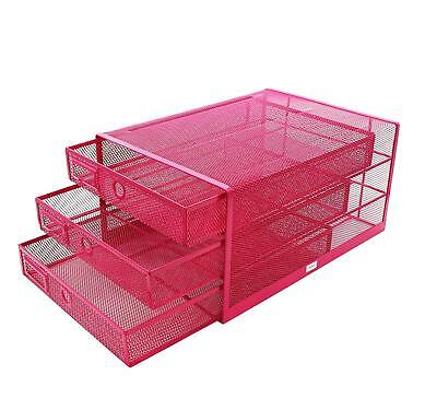 Exerz Wire Mesh 3 Drawer Paper Sorterdesk Multifunctional Organizer Pink