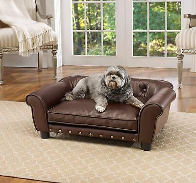 Fancy Dog Bed Raised Medium Tufted Pet Sofa Couch Faux Leather Furniture (Tufted Dog Cushion)