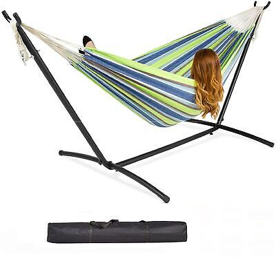 Garden Single Cotton Hammock Outdoor Swing with Space Saving Metal Stand Frame