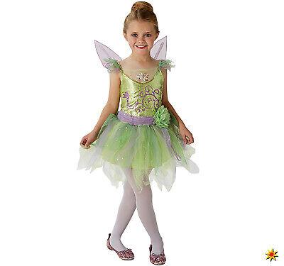 Kinder Kostüm Tinkerbell deluxe Gr. 98-128 Kleid mit Flügeln grün Fee Fasching