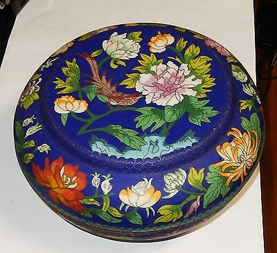 RARE LARGE OLD CHINESE CLOISONNE ENAMEL BIRD DESIGN BOWL JAR BOX