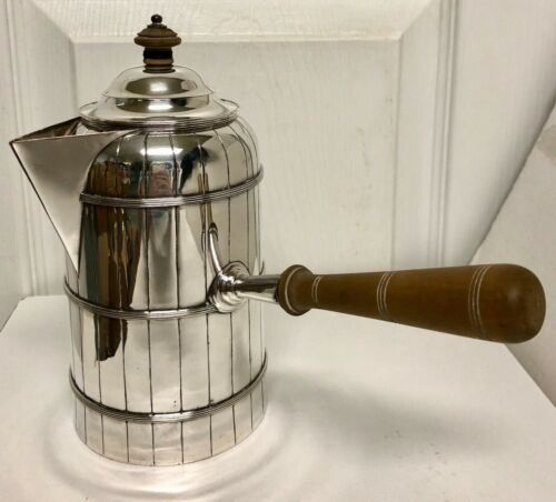 Vintage English Marked Silver Plate Side Handle Chocolate / Coffee Pot Banded