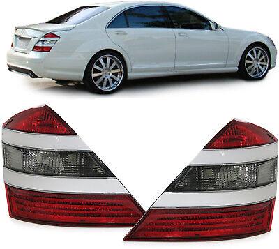 Rückleuchten mit Zier Blende weiß Paar für Mercedes S Klasse W221 05-09
