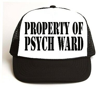 Psych Ward Costume (PROPERTY OF PSYCH WARD Trucker HAT Funny Adult Halloween Costume punk)