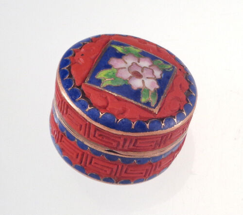 Vintage Chinese Cloisonne Enamel & Cinnabar Hinged Pill Box