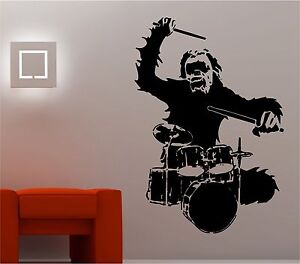 GORILLA DRUMMING DRUMS wall art sticker vinyl LOUNGE MUSIC BEDROOM  KIDS