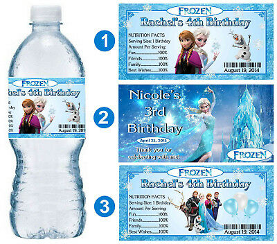 20 DISNEY FROZEN ELSA BIRTHDAY PARTY FAVORS WATER BOTTLE LABELS ~ PERSONALIZED  - Frozen Birthday Parties