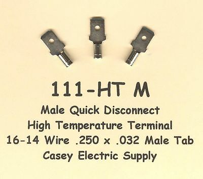 50 High Temperature Quick Disconnect Qd Terminal 16-14 Wire Gauge .250 Male Tab