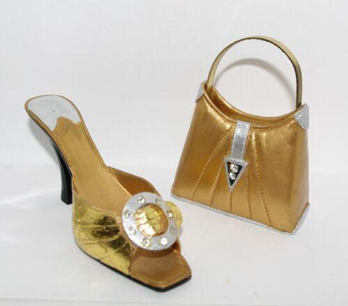 JC Penney GLITZ PUMP Metallic Gold Silver HIGH HEEL SHOE & HANDBAG Ornaments