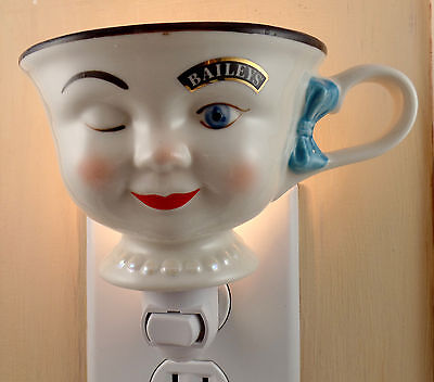Baileys Winking Woman Yum Cup With Blue Hair Bow Custom Made Night Light