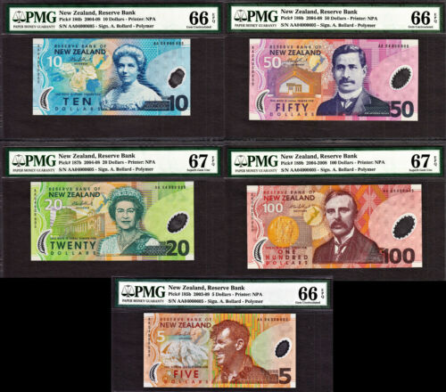 New Zealand 2004 Polymer MATCHING # AA 000605 $5 to 100 GEM UNC PMG 66 / 67 EPQ