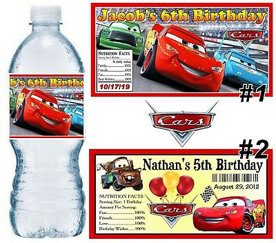 20 DISNEY CARS BIRTHDAY PARTY FAVORS WATER BOTTLE LABELS ~ PERSONALIZED