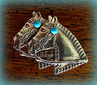 VINTAGE Sterling Horse Heads with faux Turquoise PIN Jewelry