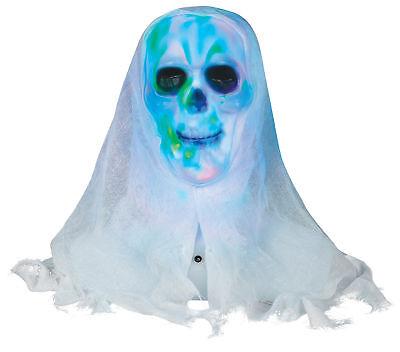 Lichtshow Totenkopf Büste Weißes Zifferblatt Halloween Prop Kopf Geisterhaus