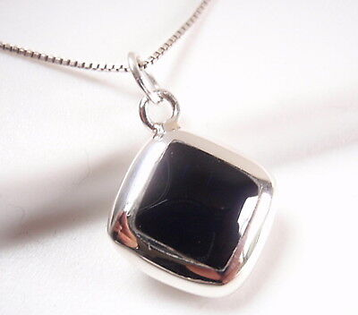 Reversible Black Onyx and Mother of Pearl 925 Sterling Silver Square -