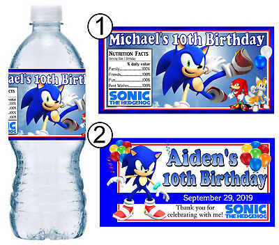 20 SONIC THE HEDGEHOG BIRTHDAY PARTY FAVORS WATER BOTTLE LABELS - Sonic The Hedgehog Birthday