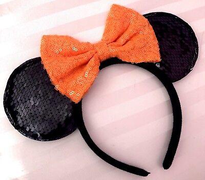 NEW Black Flip Sequin Minnie Mouse Ears Headband Bright Orange Bow Halloween - Halloween Minnie Ears