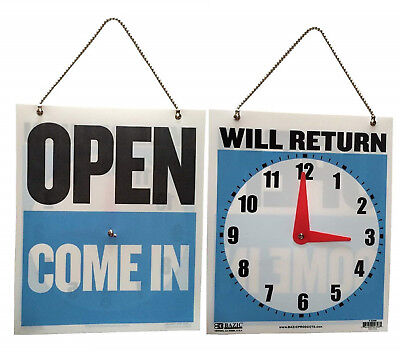 7.5 X 9 Inch Come In Open Or Will Return Plastic Flip Sign With Clock Hands