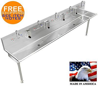 Stainless Steel Hand Sink 108 5 Person Manual Faucets 2 2 Npt Drains