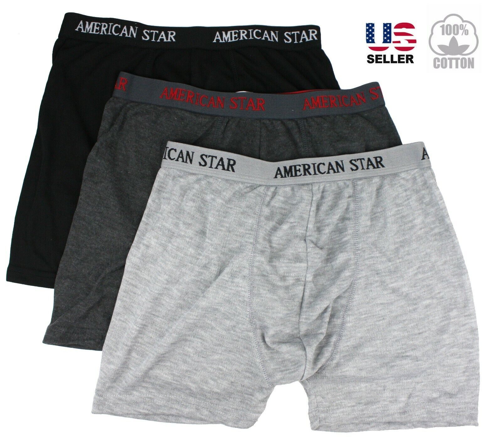 Lot 3 Mens Boxer Briefs Trunks Shorts Underwear Cotton Stret
