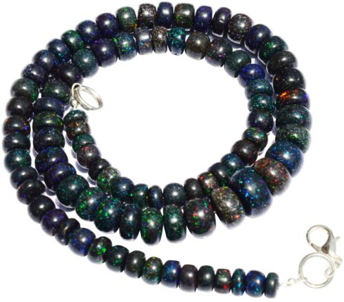 "Natural Gem Australian Black Matrix Fire Opal 6-10mm Rondelle Beads Necklace 17"""