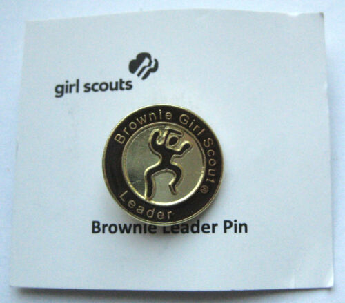 Retired Girl Scout BROWNIE LEADER PIN Adult Troop Mom Uniform Button NEW Gift!