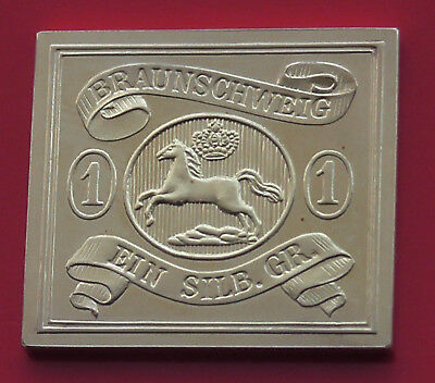 Modern Gold plated 8.21g Silver Stamp Ingot German State Brunswick Leaping Horse