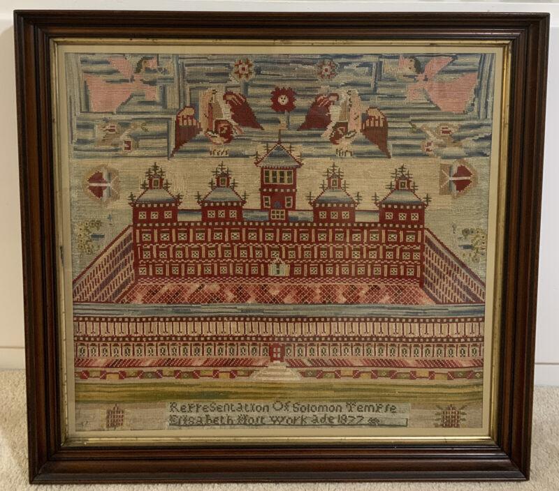 RARE Antique 1800s LARGE Framed Solomon Temple SIGNED Needlepoint Sampler 1877