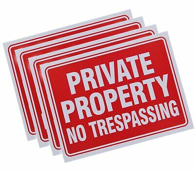 """Private Property No Trespassing Yard Sign 9"""" x 12"""" Driveway Home Warning 4 Pack"""
