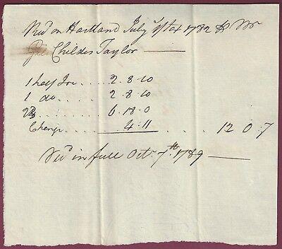 Early American Manuscript Document, Hartland, Connecticut, October 7, 1789 for sale  Binghamton