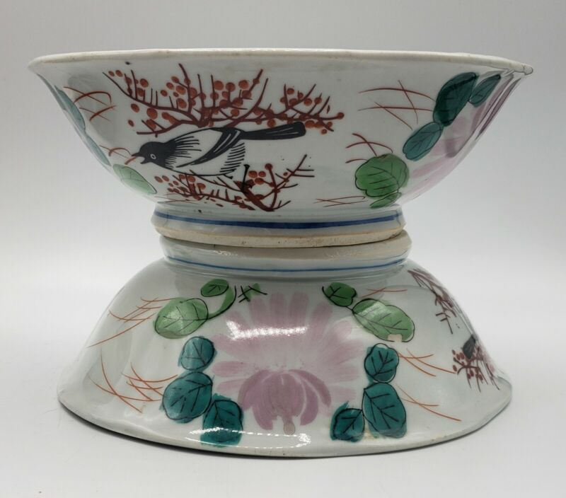 Pair of Vintage RICE BOWL Porcelain Signed Hand Painted Flowers & Birds
