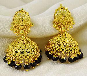 Indian Ethnic Gold Plated Jhumka Traditional Drop Dangle Jhumki Earrings Jewelry