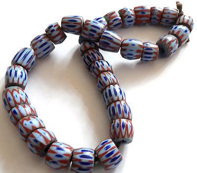 33 Antike Trade beads, Chevron Venetian Murano Glasperlen 9mm