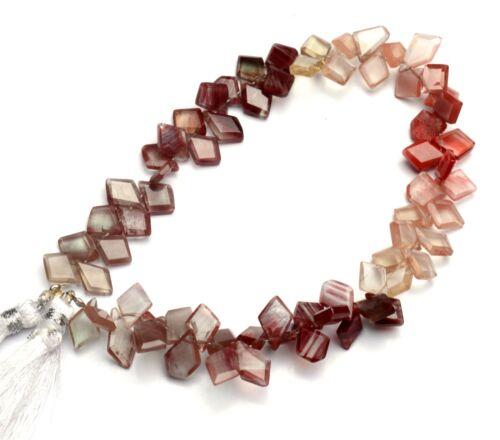 """Natural Andesine Labradorite Gem Faceted Slice Shape Beads Strand 9"""" 66Cts."""