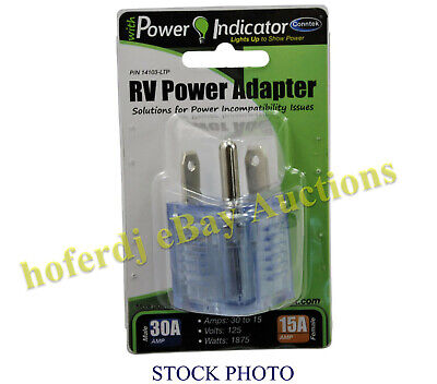 Rv Power Adapter 30a Male Tt-30p To 15a Female 5-15r Lighted End Amp Nema Plug