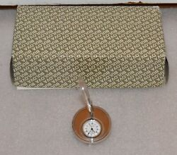 Bulova Desk Clock Pen & Holder desktop executive NIB quartz SILVER COLOR W/ BOX