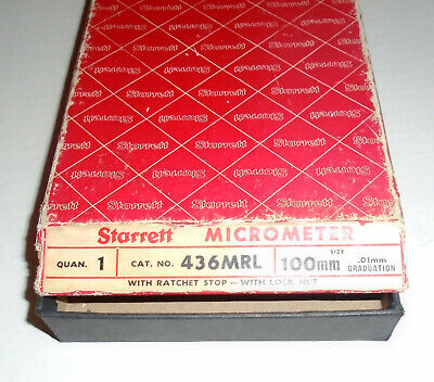 Starrett 100mm Outside Micrometer 436mrl-100 Ratchet Stop With Lock Nut New Nos