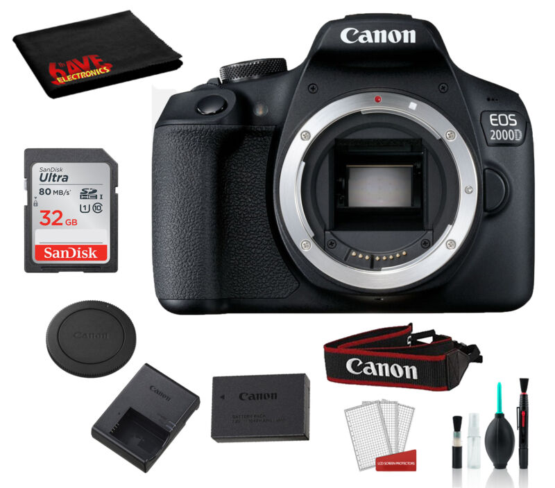 Canon EOS 2000D (Rebel T7) Body Only Kit +Accessory Bundle
