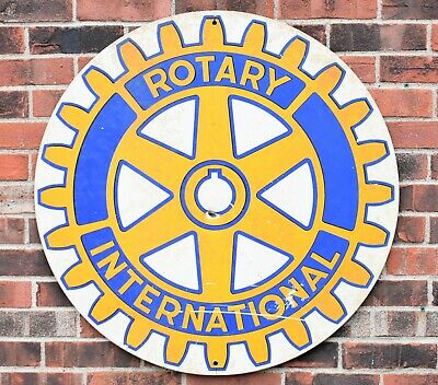 "Vintage Metal Advertising Display Road Sign INTERNATIONAL ROTARY Club 30"" Round"