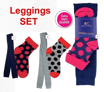Strümpfe Leggings (Kinder Mädchen warme Feinstrick Leggings  Set mit Strümpfe Unterhose Strumpfhose)