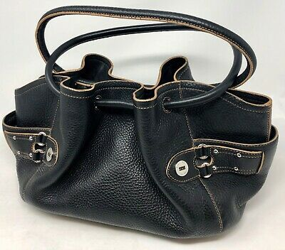Cole Haan Purse Handbag Tote Hobo Black Pebbled Leather Cole Haan Handbag Purse