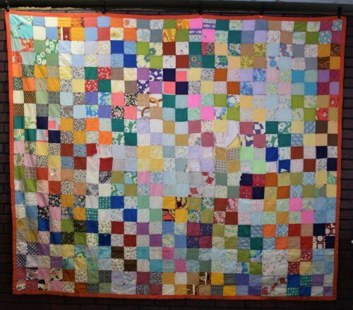 "Vintage Patch work Quilt 75 X 86"" - New England Estate Find - Some Wear"