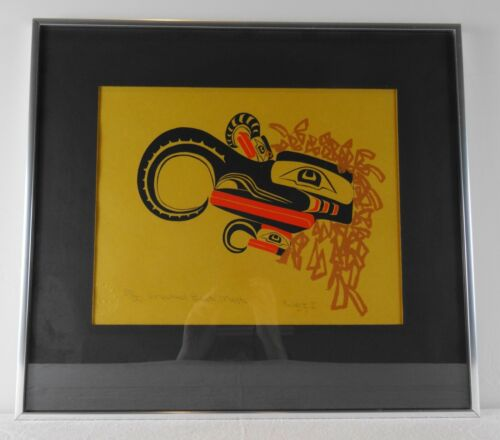 Pacific Northwest Native Art Crooked Beak Mask Print Framed Numbered King & I