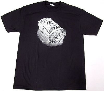 Gangster Money Roll T-shirt Cash Dollars Tee Adult Men Black -