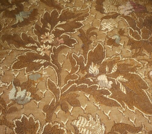 Antique French Floral Jacquard Brocade Fabric ~ Brown Ombre Lavender Rose Gray