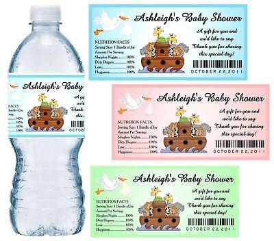 20 NOAHS ARK BABY SHOWER FAVORS WATER BOTTLE LABELS ~ Glossy ~ Waterproof - Noahs Ark Baby Shower