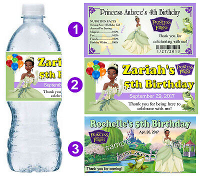 20 PRINCESS TIANA BIRTHDAY PARTY FAVORS WATER BOTTLE LABELS ~ PERSONALIZED ](Princess Tiana Party)